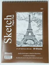 """Bazic Spiral Sketch Pad Book  9"""" x 12"""" 30 Paper Sheets for Pencil Ink Pastel"""