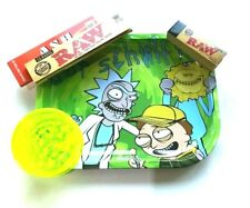 Smokers Metal Rolling Tray GET SCHWIFTY  Grinder RAW King Size Slim Paper Tip