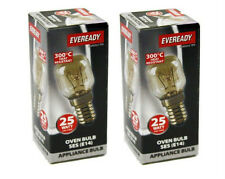 2x Eveready 25w E14 SES Clear 240v Oven Appliance bulb 300 Degree Heat Resistant