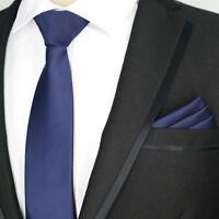 PLAIN NAVY DARK BLUE SOLID COLOUR DESIGNER WEDDING TIE AND POCKET SQUARE SET UK