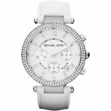 Michael Kors Watch Women's Chronograph Parker White Leather Strap 39mm MK2277