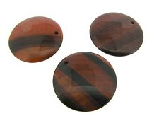 THREE (3) RED TIGER EYE 40mm Puffed Coin Pendant Beads