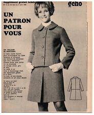 ▬► Patron Couture Supplément Écho de la Mode Tailleur Taille 40 à 44 N°13 1969
