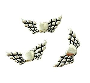 50 Antiqued Tibetan Silver 22mm Angel Wing with Heart Spacer Craft Beads Wings