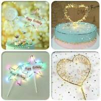 Fashion LED Pearl Heart Star Cake Topper Happy Birthday Cake Baking Party Decor