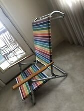 Vintage Telescope Folding Beach Chair With Towel Bar And Rainbow Stripe Canvas