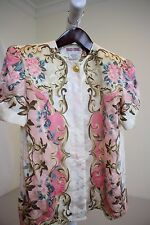 Maggy London 100% Silk Multi-Colored Floral Short Sleeve Top Size - 4