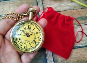 Brass Pocket Watch Chain With Velvet Pouch for easy carry Handmade Gift