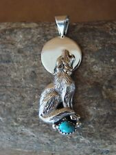 Native American Sterling Silver Hand Stamped Wolf Turquoise Pendant!