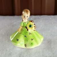 Vtg Josef Original May Birthday Girl Emerald Green Japan Figurine late 1940's