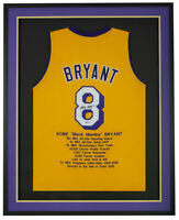 Kobe Bryant Signed Framed Custom Yellow Pro Style Stat Basketball Jersey BAS LOA