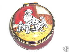 Crummles Dalmatian Dog Family on Red Enamel Pill Box
