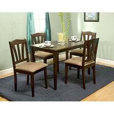 New listing 5 Piece Dining Set Solid Wood in Espresso Brown finish Table & 4 chairs Free S/H