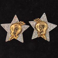 EARRINGS Tweety Bird WARNER BROS LOONEY TUNES FAUX STONES Silver & Gold WB 4906