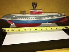 Vtg tin toy wind up Wolverine submarine working clock work motor pond boat.