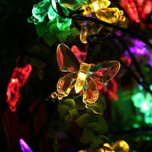 RGB Solar Lichterkette mit 20 LED Schmetterlinge Garten Party Außenbeleuchtung
