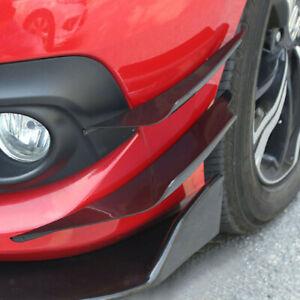4x Car SUV Bumper Fin Canard Splitter Diffuser Valence Spoiler Lip Gloss Black