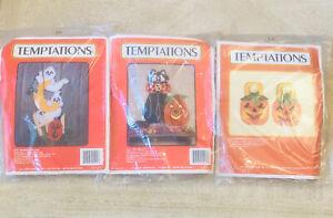 Lot of 3: VTG J&L Craft Temptations Halloween Plastic Canvas Needle Craft Kits