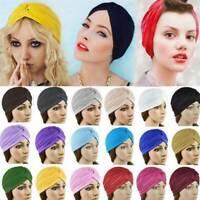 Twisted Pleated Turban Women Muslim Hat Headwraps Elastic Head Scarf Wrap Cap
