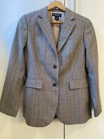Brooks Brothers Classic Brown Glen Plaid Wool Two Button Blazer Size 6 Women'