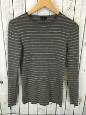 ANN TAYLOR Gray and Gold Striped Lightweight Sweater Size Small E1
