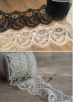 Lace Ribbon with heavy embroidered detail scalloped edge lace *70mm wide