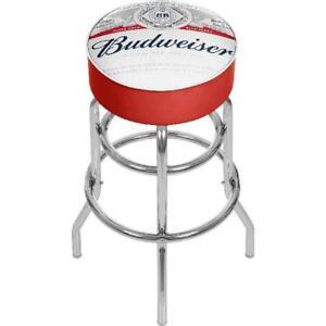 Budweiser Chrome Padded Bar Stool with Swivel, Label Design