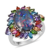925 Sterling Silver Platinum Over Opal Triplet Ruby Flower Ring Ct 5.7