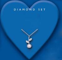 Pearl and Diamond Pendant Solid Silver Real Diamond Leaf Design 925 hallmark