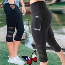 Womens Capri YOGA Workout Running Gym Sport Pants Leggings Fitness Black Mesh