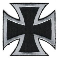 BRAND NEW SILVER AND BLACK IRON CROSS BIKER IRON ON PATCH
