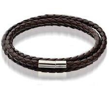 Fashion Womens Mens Brown Leather Interlaced Cuff Bangle Wristband Bracelet Hot