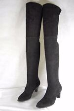 SUPER BEAUTIFUL!!! Robert Clergerie  BLACK SUEDE STRETCH OVER THE KNEE BOOTS 7.5