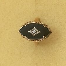 14K  Retro Vintage Natural Diamond  And Black Onyx Ring