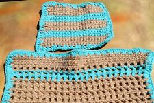 Hand Crochet Single / Double Stitch Tan / Turquoise Baby or Doll Blanket