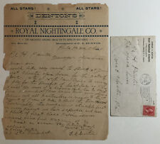 Antique Letterhead, Denton's Royal Nightingale Co. Singing Show, Phila. Pa. 1899