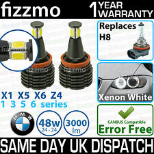 Fizzmo Blanco H8 Led Bmw Angel Eye Bombilla 5 E61 M5 6 E63 E64 M6 X1 E84 X5 E70 Z4
