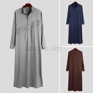 Vintage Mens Muslim Saudi Arab Thobe Jubba Kaftan Tunic Maxi Robe Dress Fit Tops