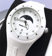 MOMO DESIGN Women's MD3006FL-WT21 Mirage Moon Phase White Silicone Swiss WATCH