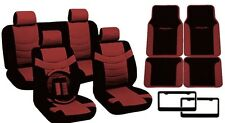 Black/Red PU Leather Seat Covers Tribal Floor Mats License Plate Frames 17pc CS1