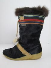 TECNICA Boots Black Goat Fur Apres Ski Winter Boots Size 10 EUR 42