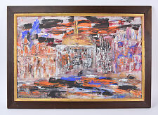 Mid-century Modern Abstract Oil Painting Cityscape with Domed Cathedral signed