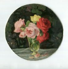 19th century Vintage Oil Painting - Peinture, Roses Bouquet, Flowers, Still Life