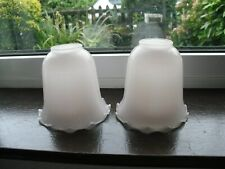 2 x Antique / Vintage Pink Tinge Glass Light / Lamp Shades Ruffled Edges