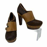 UGG Booties Women's Size 6 Illana Calf Hair Brown Platform High Heels Buckle *
