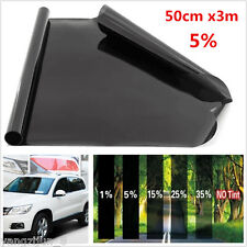 Black Solar Film Window Tint Car Van Reduce Sun Glare 5% Universal 300 x 50cm