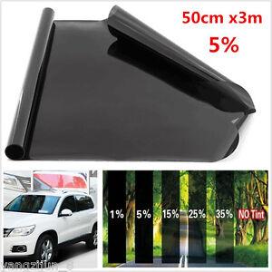 Black Solar Film Window Tint Car Van Reduce Sun Glare 5% Universal 300 x 50cm