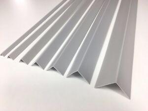 ! LIGHT GRAY ! PLASTIC PVC CORNER 90 DEGREE ANGLE TRIM - 1 METER VARIOUS SIZES