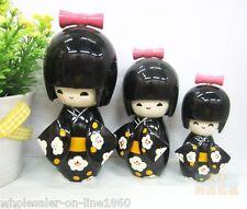 Cute 3 Pcs Oriental Japanese Kokeshi Dolls Girls Wooden - Black