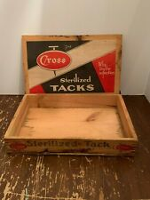 Vintage Advertising Cross Sterilized Tack Wooden Store Counter Box